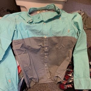 Vans button down - teal and grey size small